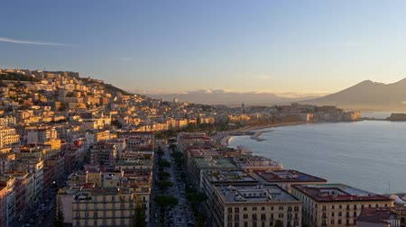 Panning shot of Naples (Napoli) in morning lights, Campania, Italy. UHD, 4K