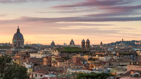 Time lapse of Rome sunrise, Italy. 4K, UHD