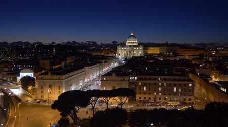 St Peters Cathedral In Vatican after sunset. Rome, Italy. 4K, UHD