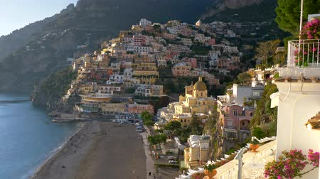Positano, Italy. Gimbal shot of spring Positano village in Amalfi Coast, Salerno. Стоковые видеозаписи