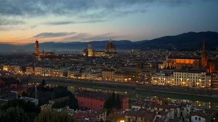Florence, Italy. Panorama of the city just after sunset, shot from Piazzale Michelangelo square. 4K