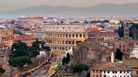 historical : Rome, Italy. Path to the Colosseum, shot from Terrazza delle Quadrighe. Panning shot, 4K