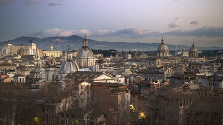 Rome, Italy. Panorama of the evening city, shot from Castel SantAngelo (Mausoleum of Hadrian). UHD