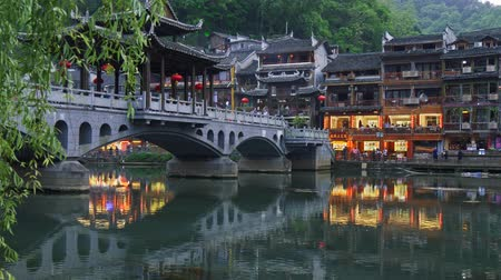Fenghuang, China. The town at dusk. Panning shot, 4K