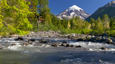 Патагония : Lanin volcano in Lanin national park. Landscape with volcano, mountain river and green trees. Argentina, Patagonia, Lake district Стоковые видеозаписи