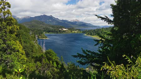 Анды : Lake district near Bariloche, Patagonia, Argentina. Nahuel Huapi National Park. Shot from Punto panoramico, 4K Стоковые видеозаписи