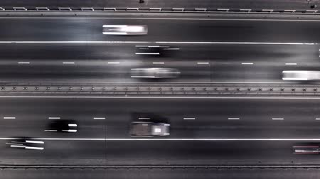jam : Aerial top down time lapse of city traffic in the night