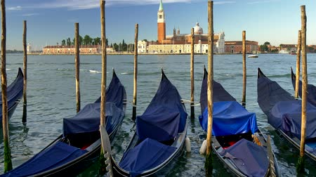 bekötött : Venice, Italy. Docked gondolas covered with blue canvases swaying in the waves. St. Marks Basilica is seen in the background. UHD Stock mozgókép