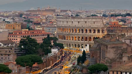 roma : View of Colosseum, shot from Terrazza delle Quadrighe in Rome, Italy.