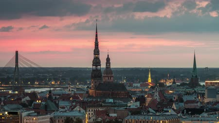 riga : Riga, Latvia. The roofs of the old city at sunset. Time lapse Stock Footage
