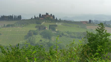 toskánsko : Panorama of classical Tuscany landscape. Hills covered with mist. Tuscany is a region in Italy, where Florence, Pisa, Siena, San Gimignano etc are located. UHD