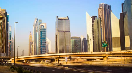 birleşik arap emirlikleri : Timelapse view of Skyscrapers at the Sheikh Zayed Road with traffic in Dubai