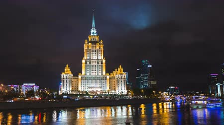 stalinist : Timelapse and hyperlapse view of historical building in moscow with river front