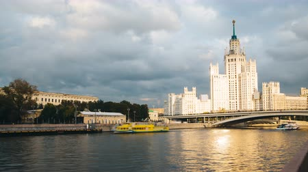 stalinist : Timelapse view of historical building in moscow with river front