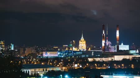 stalinist : Timelapse view of historical building and moscow downtown skyline Stock Footage