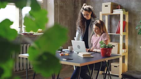 предпринимателей : Young owners of small business are working with laptop in modern loft style office. Blonde is sitting and typing, brunette is standing and suggesting ideas.