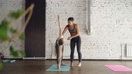 professor : Experienced yoga teacher is demonstrating extended triangle pose to young blond student and correcting position of her body during individual practice.