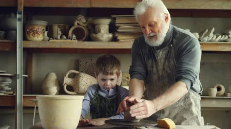 oleiro : Caring silver-haired grandfather is teaching young cute grandson to work with clay on throwing-wheel in small workshop. Pottery, family hobby and handicraft concept. Stock Footage
