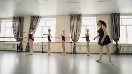 classical suit : Professional ballet teacher is teaching little girls to turn on tiptoes and stretcg legs and arms while young dancers are repeating after teacher holding ballet bar.