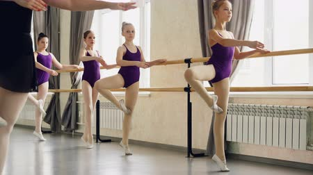 classical suit : Schoolgirls are having choreography class doing exercises at ballet barre under guidance of professional ballet dancer. Education, dancing and childhood concept. Stock Footage