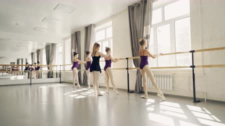 строгий : Young ballet dancers are practising leg positions at ballet bar under guidance of professional ballerina strict teacher. Light dancing hall with large mirror is visible. Стоковые видеозаписи