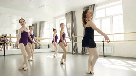 classical suit : Pretty girls in leotards are doing plie and arm movements with teacher during ballet lesson in light studio. Choreography, people and childhood concept. Stock Footage