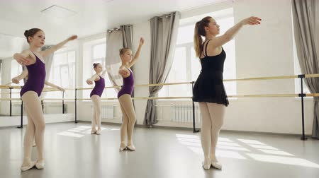 концентрированный : Group of ballet dancers are rehearsing dance with their teacher practising movements and walking on tiptoes. Slim girls are wearing trendy bodysuits and ballet slippers.