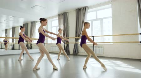 načasování : Graceful little ballet dancers in beautiful leotards are exercising practising movements in light studio. Pretty girls are moving simultaneously together. Dostupné videozáznamy