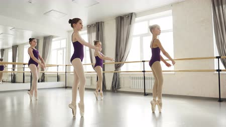 classical suit : Diligent girls are learning steps on tiptoes dancing in ballet studio. Starting ballet dancers are awkward, they are making mistakes but trying to succeed.