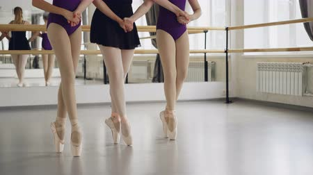 načasování : Low shot of female legs in ballet shoes students and teacher dancing on tiptoes making steps on floor in ballroom. Choreography, classical ballet, art and children concept.