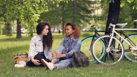 kahkaha : Pretty African American woman is talking to her European friend in park sitting on grass, girls are chatting and laughing. Bikes and trees are in background, sunny day. Stok Video