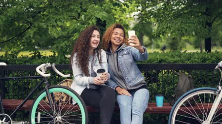 bigode : Cheerful Caucasian and African American girls friends are taking selfie making moustache from hair and posing with finger gestures sitting on bench in park.