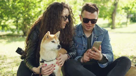 patting : Young woman is petting her dog sitting on grass while her boyfriend is showing her smartphone screen, people are talking and laughing. Weekend in the park concept. Stock Footage