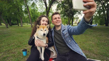 patting : Happy couple is taking selfie in the park kissing and looking at smartphone, while young woman is holding and caressing cute puppy shiba inu breed. Stock Footage