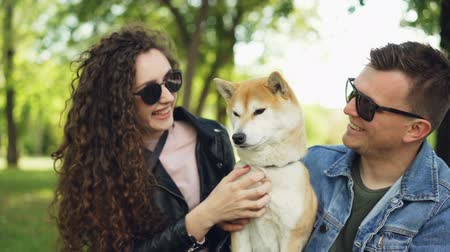 patting : Slow motion of two people caring dog owners kissing and patting adorable pedigree pet sitting on grass in park in city. Love, relationship and nature concept. Stock Footage