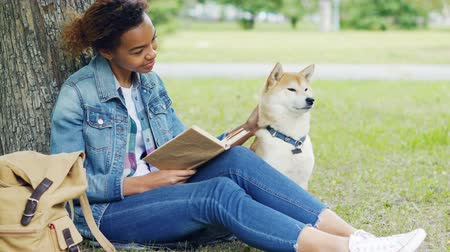читатель : Kind mixed race woman is reading book in park and stroking her dog sitting on lawn under tree together. Intelligent hobby, caressing animals and youth concept. Стоковые видеозаписи