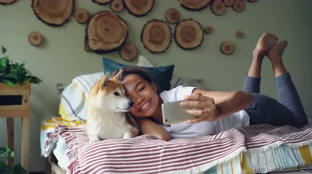 芝 : Happy African American girl proud dog owner is taking selfie with cute pet lying on bed in modern apartment using smartphone. Technology and social media concept.