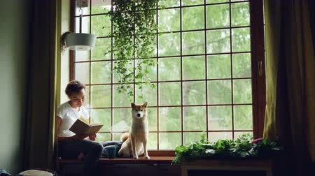 banquinho : Pretty young woman is reading book sitting on windowsill and looking outside together with cute pedigree dog. Beautiful green plants, modern interior and curtains are visible.