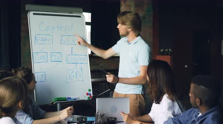 аплодисменты : Team leader is making report at whiteboard talking and pointing at chart, team members are listening then clapping hands. Business, corporate education and people concept. Стоковые видеозаписи