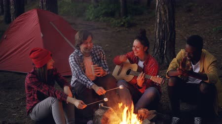 dal : Young lady traveler is playing the guitar, her friends are cooking food on fire and African American man is clapping hands. Friendship, people and music concept. Stock mozgókép