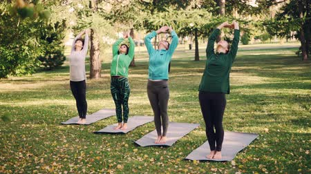 delgado : Group of young women is practising yoga outdoors in park in autumn, girls are standing on bright mats and bending backward then forward. People and recreation concept. Stock Footage