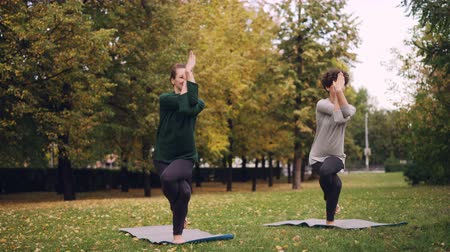 vyvažování : Slender girl yoga student is learning Eagle pose under guidance of teacher during individual practice with instructor in park. Beautiful autumn nature is in background.