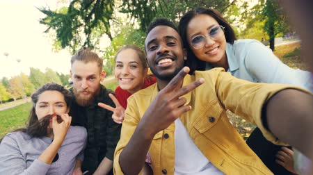 gadżet : Multiethnic group of young people African American, Asian and Caucasian is taking selfie on picnic with drinks looking at camera and laughing having fun.
