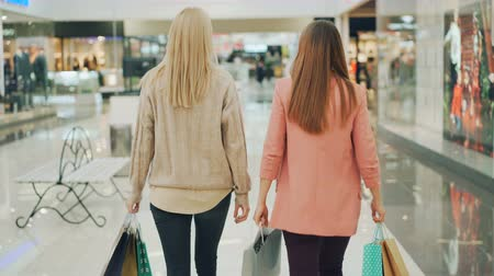 delgado : Rear shot of slender young women walking in shopping mall holding paper bags and looking around at goods. Happy customers, shiny shop windows are visible.
