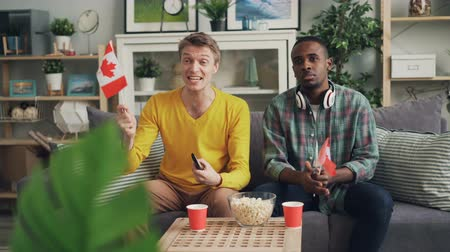 canadense : Handsome guys sports fans are watching competition on TV holding Canadian flags then celebrating victory having fun. Youth, friendship and house concept.