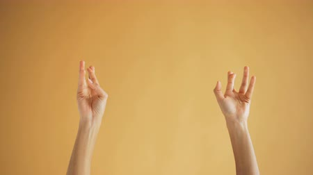 umutlu : Close-up shot of female hands making praying gestures crossing fingers putting palms together in namaste on orange background. Body language and feelings concept.