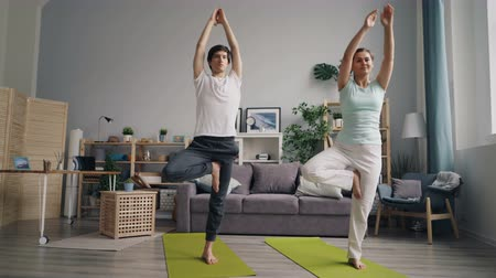 fiatal felnőttek : Sporty couple man and woman are doing yoga exercises at home balancing on one leg standing on mats relaxing. Healthy lifestyle and family relationship concept.