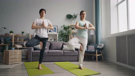 balanceamento : Young family husband and wife are practising yoga in apartment balancing on one leg on mats felaxing enjoying active lifestyle. People and sports concept. Stock Footage