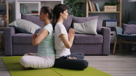 back side : Side view of young couple man and woman meditating sitting back to back on floor with hands in namaste. Relaxation, meditation and healthy youth concept. Stock Footage