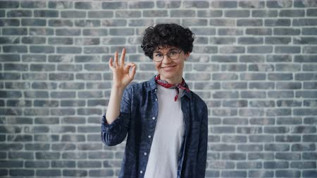 értékelés : Portrait of cheerful hipster showing OK hand gesture smiling looking at camera standing against brick wall background. Millennials and evaluation concept. Stock mozgókép